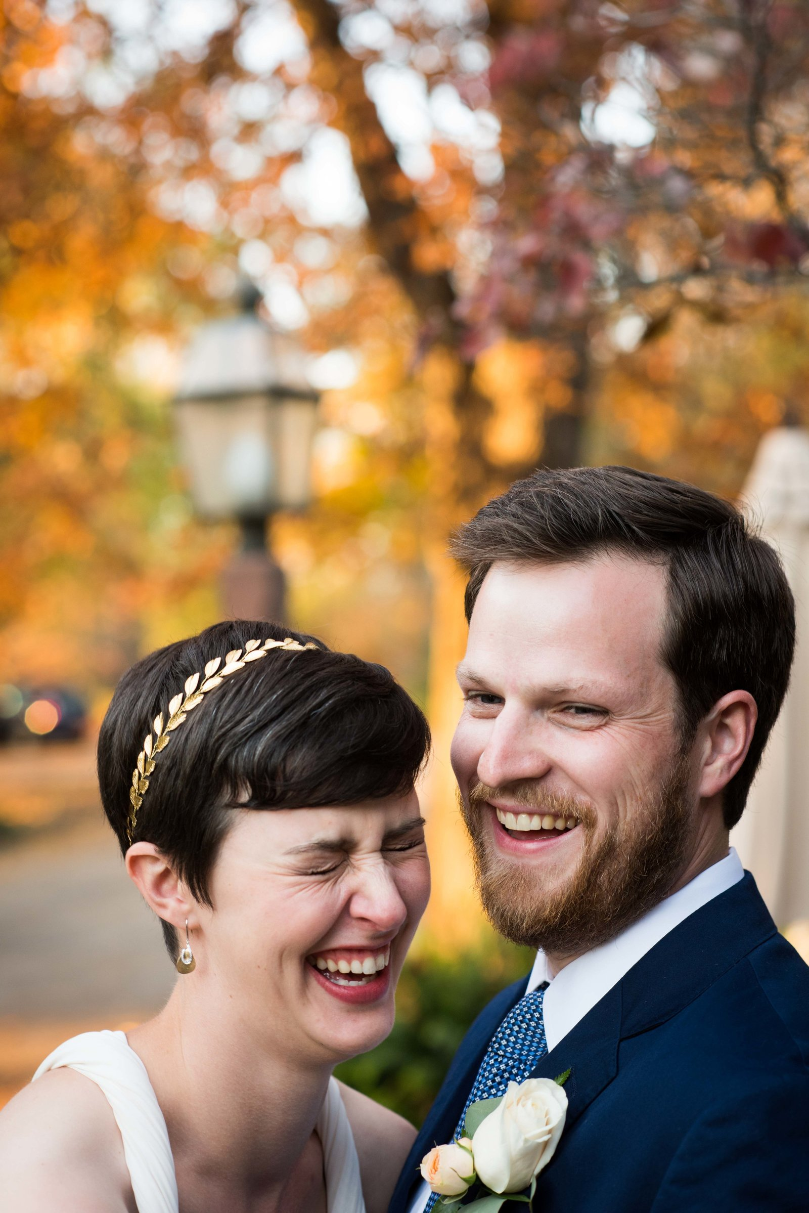 Autumn, bride and groom laughing after ceremony, Charlottesville VA.