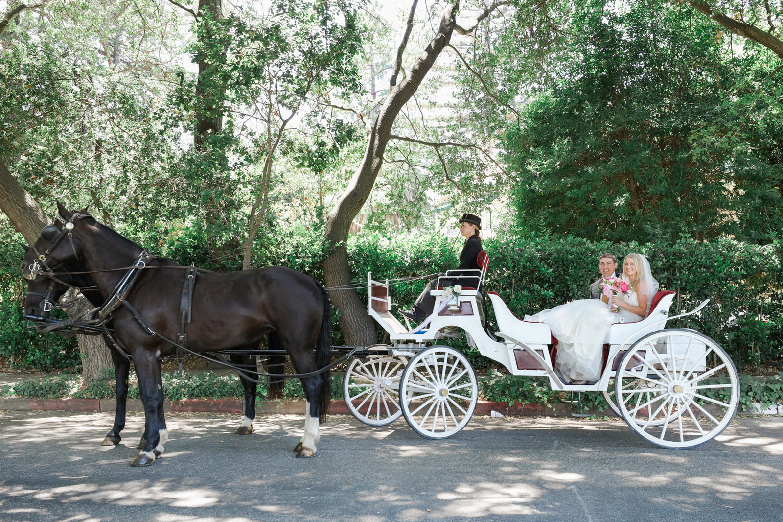 Bride and groom exit Los Altos wedding in carriage