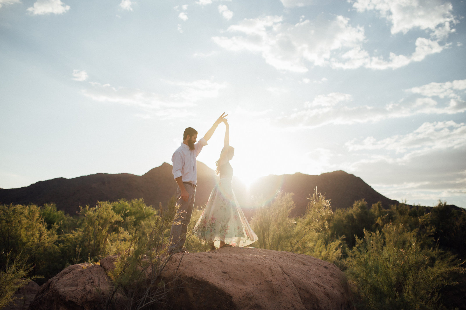 Engagement session during golden hour in Mesa, AZ