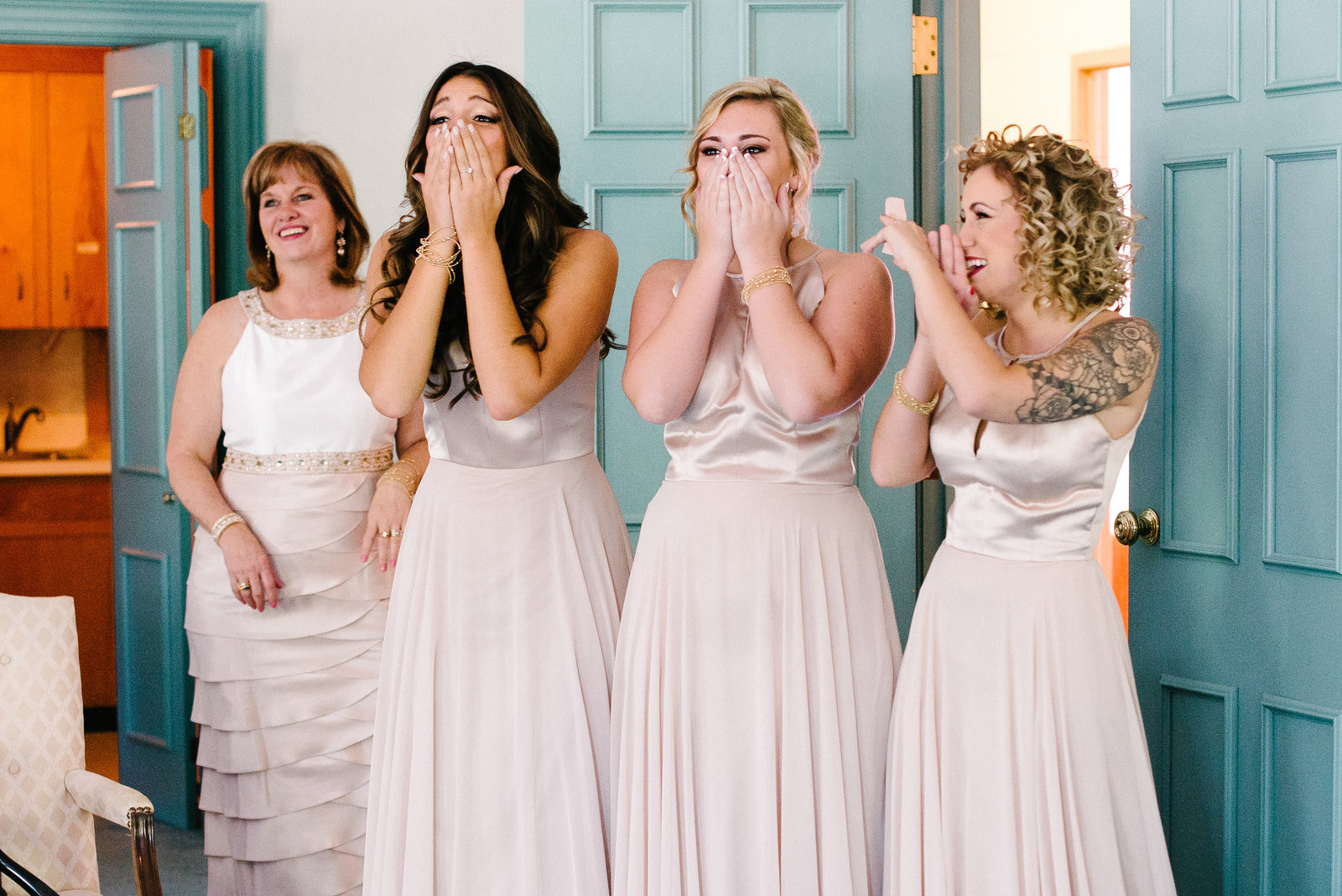 Youngstown OH bridesmaids react to seeing bride for first time