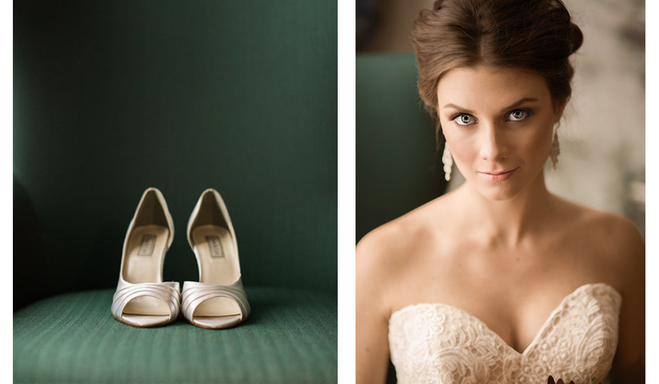 A bride's simple white satin heels next to a stunning portrait of a bride sitting near a window in the Grove Hotel in downtown Boise, Idaho.