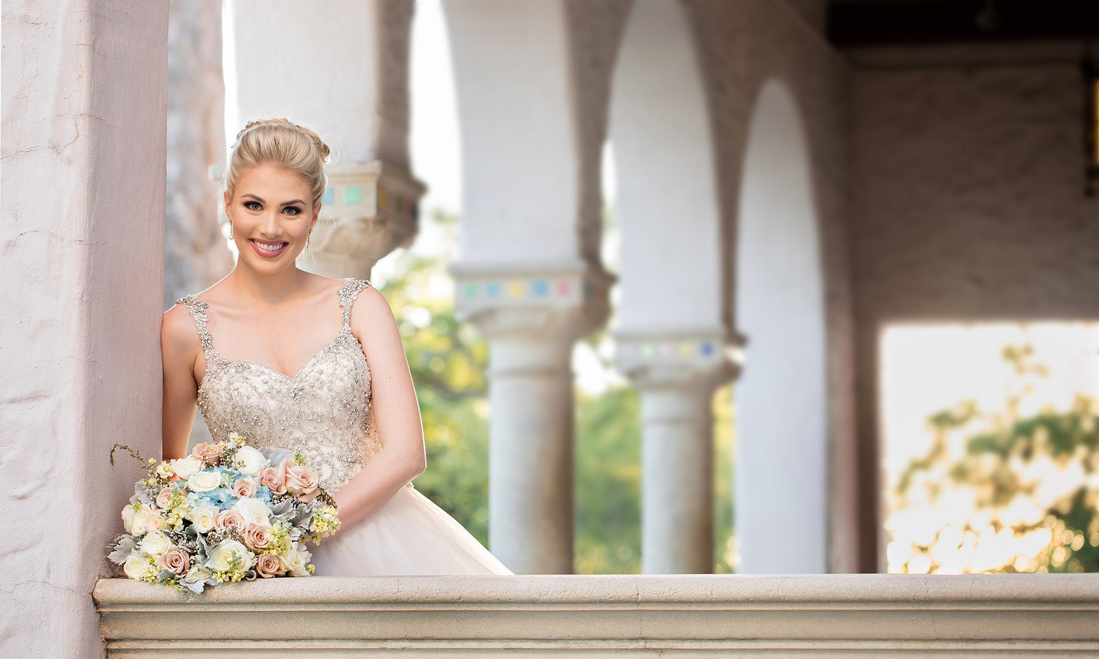 san antonio bride at the mcnay art museum beaded gown floral bouquet boerne photographer