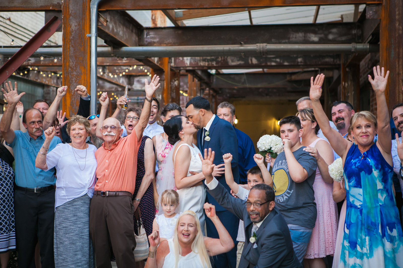 Sacramento Old Sugar Mill Wedding bride and groom celebrate