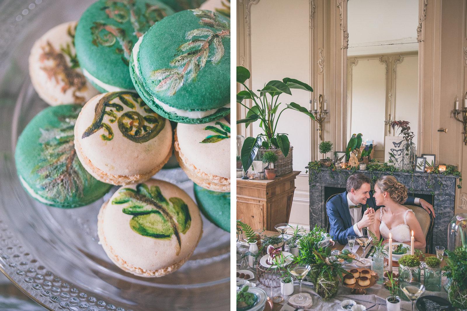 En prachtig gestyleerde tafel met bruidspaar. Vol met beschilderde macarons, varens en ander groen. Copyright Nanda Zee-Fritse | FOTOZEE