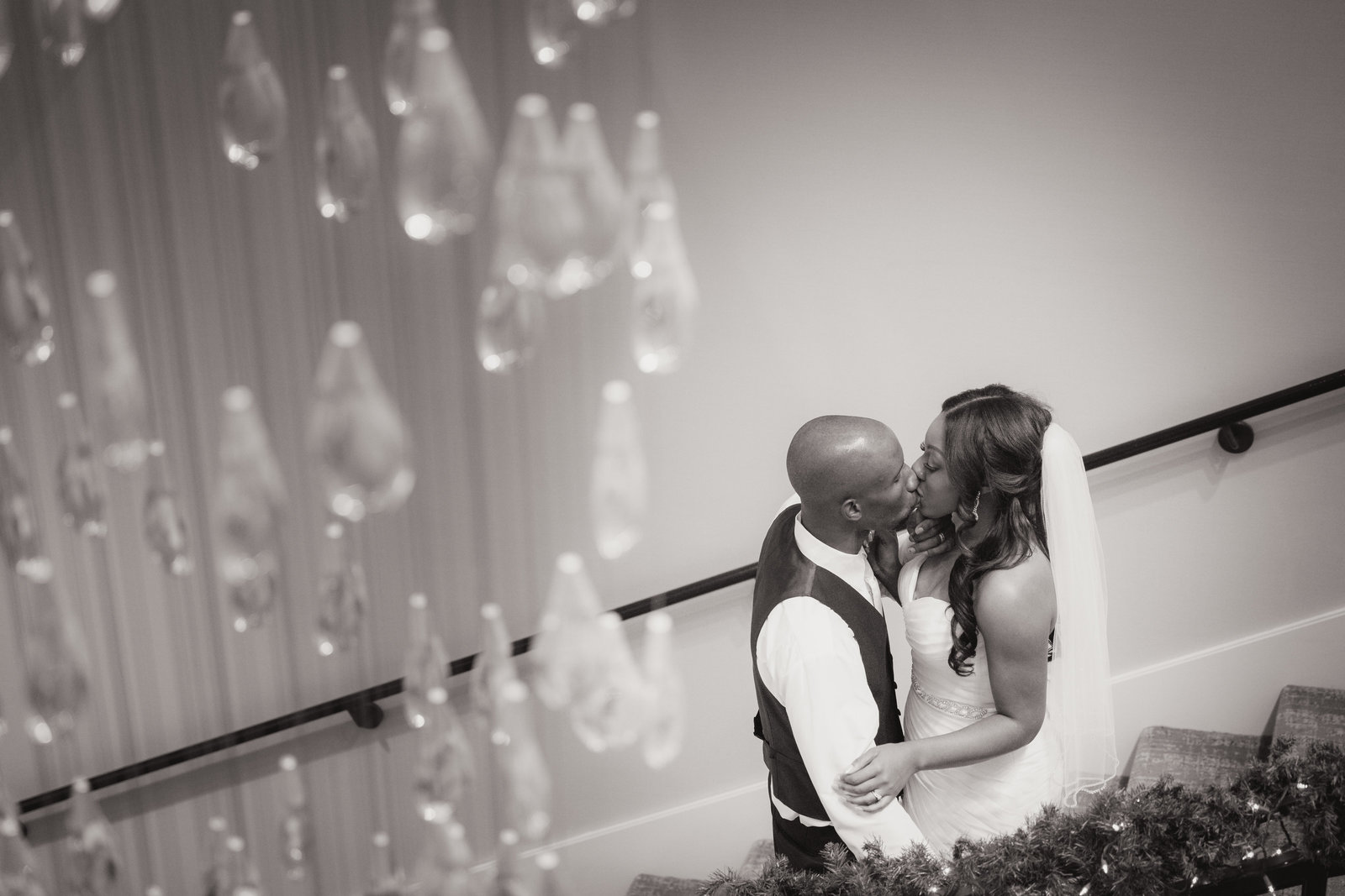Artistic black and white portrait of bride and groom