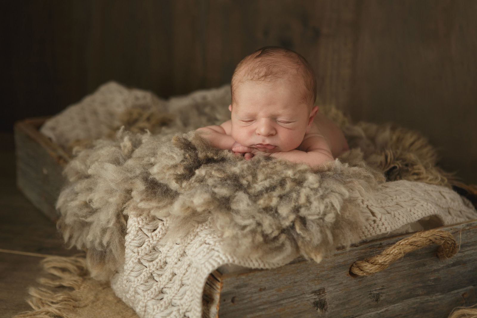 Sugar Loaf and Warwick NY newborn baby in rustic unique prop with wool fur burlap barnwood in a cute pose by Hudson Valley's best newborn baby photographer in Cornwall near Beacon NY