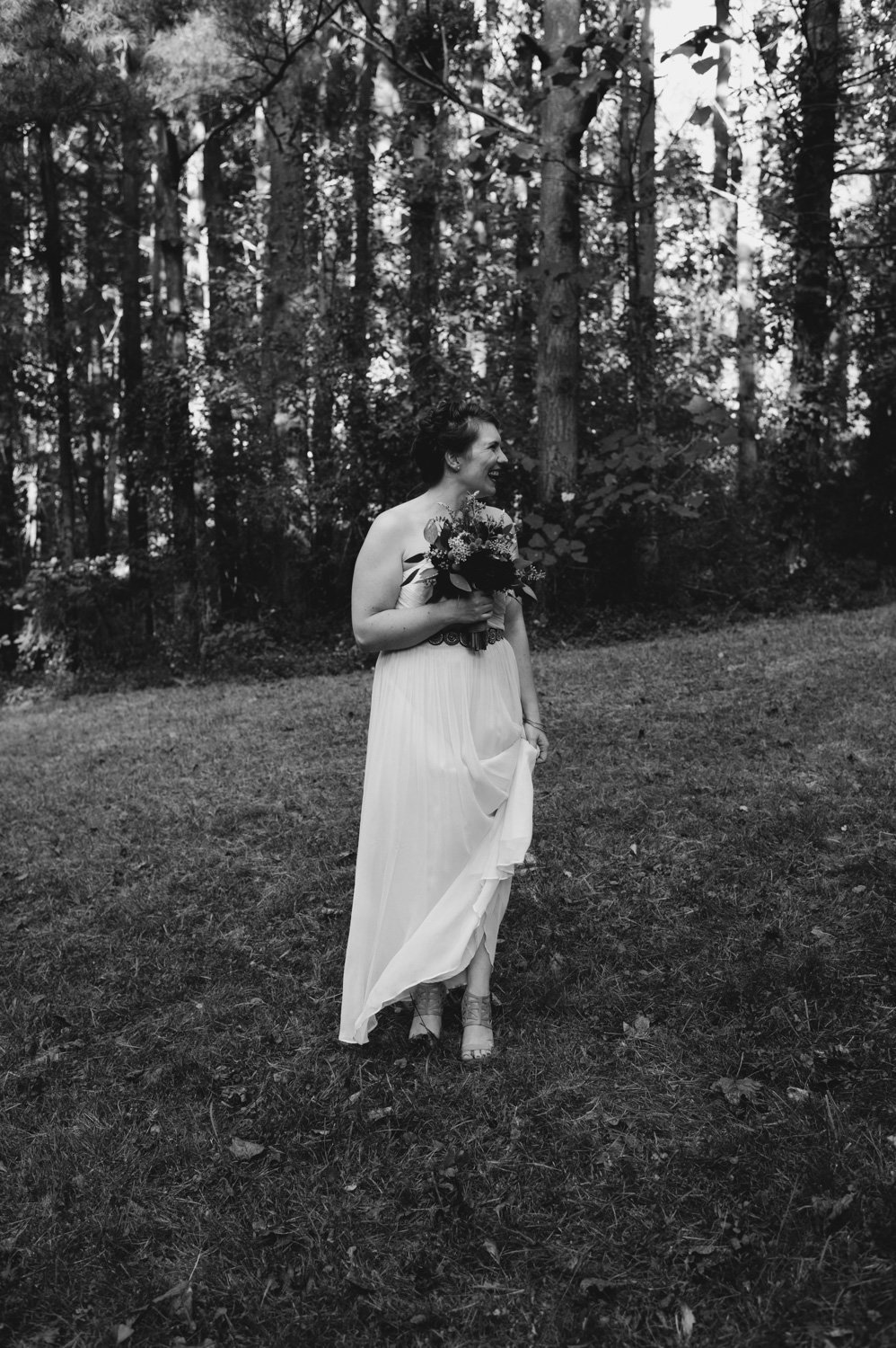 maryland bride poses during her camp wedding