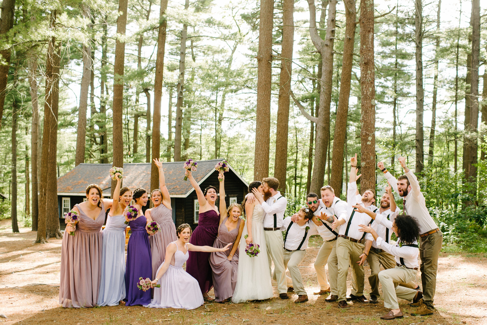 rustic wedding crazy bridal party cheering