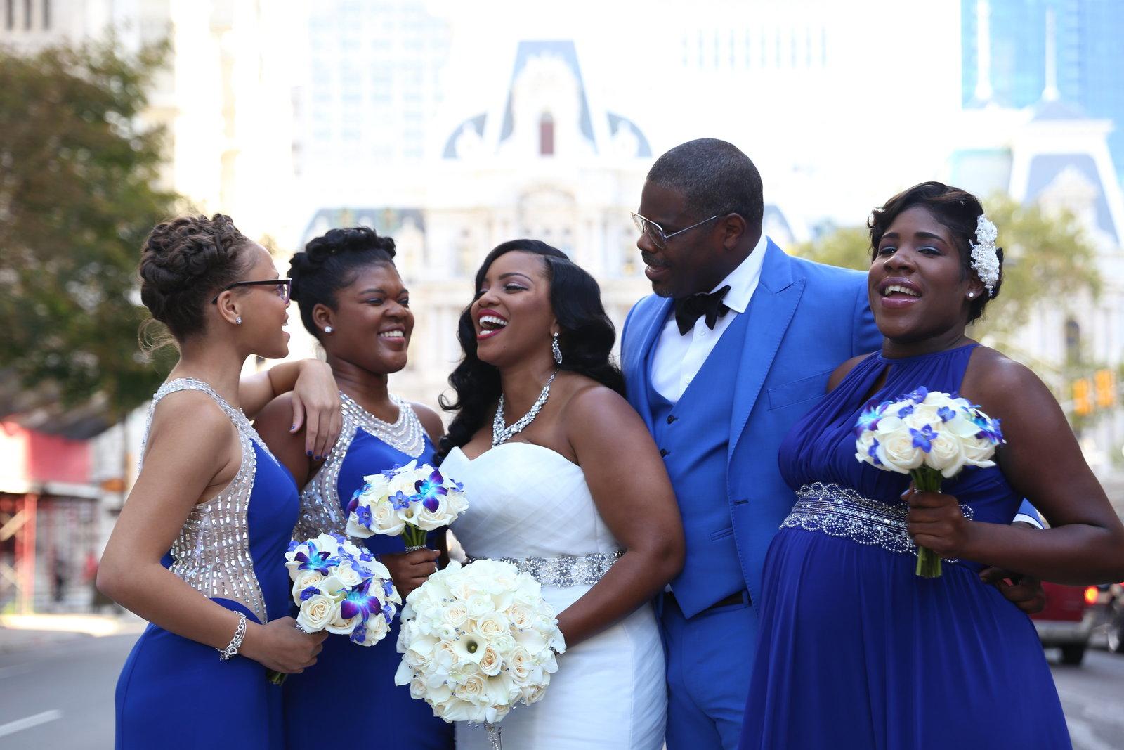 Stotesbury Mansion ceremony and wedding reception bridal portraits at City Hall