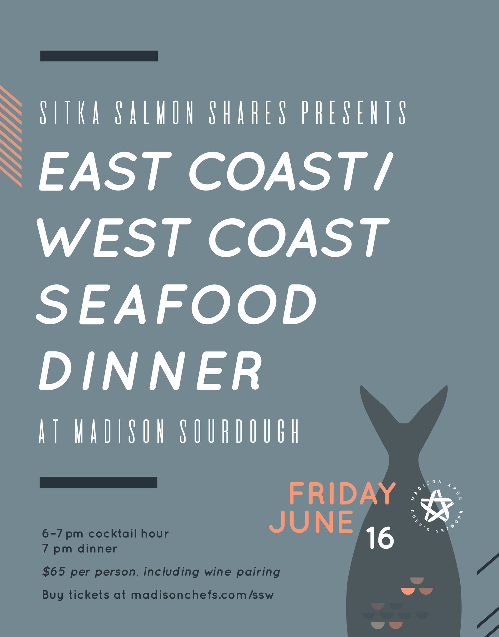 Event branding and collateral for Madison Sustainable Seafood Week 2017 by Christie Evenson Design Co.