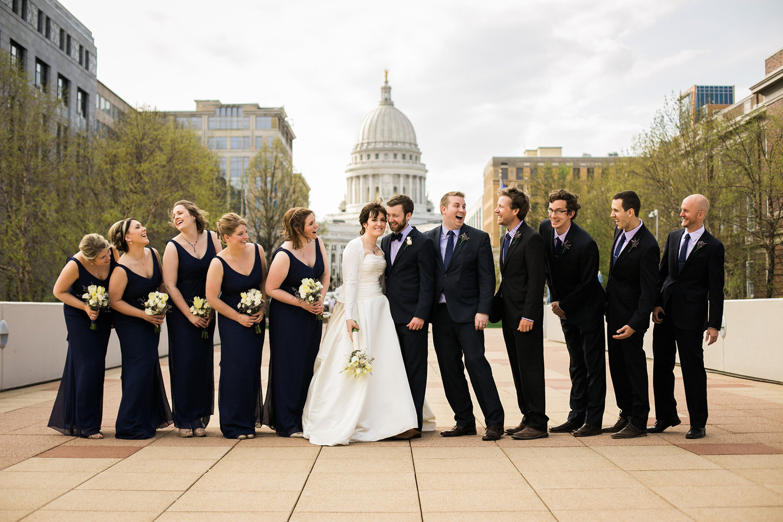 Wedding party photos at the Monona Terrace