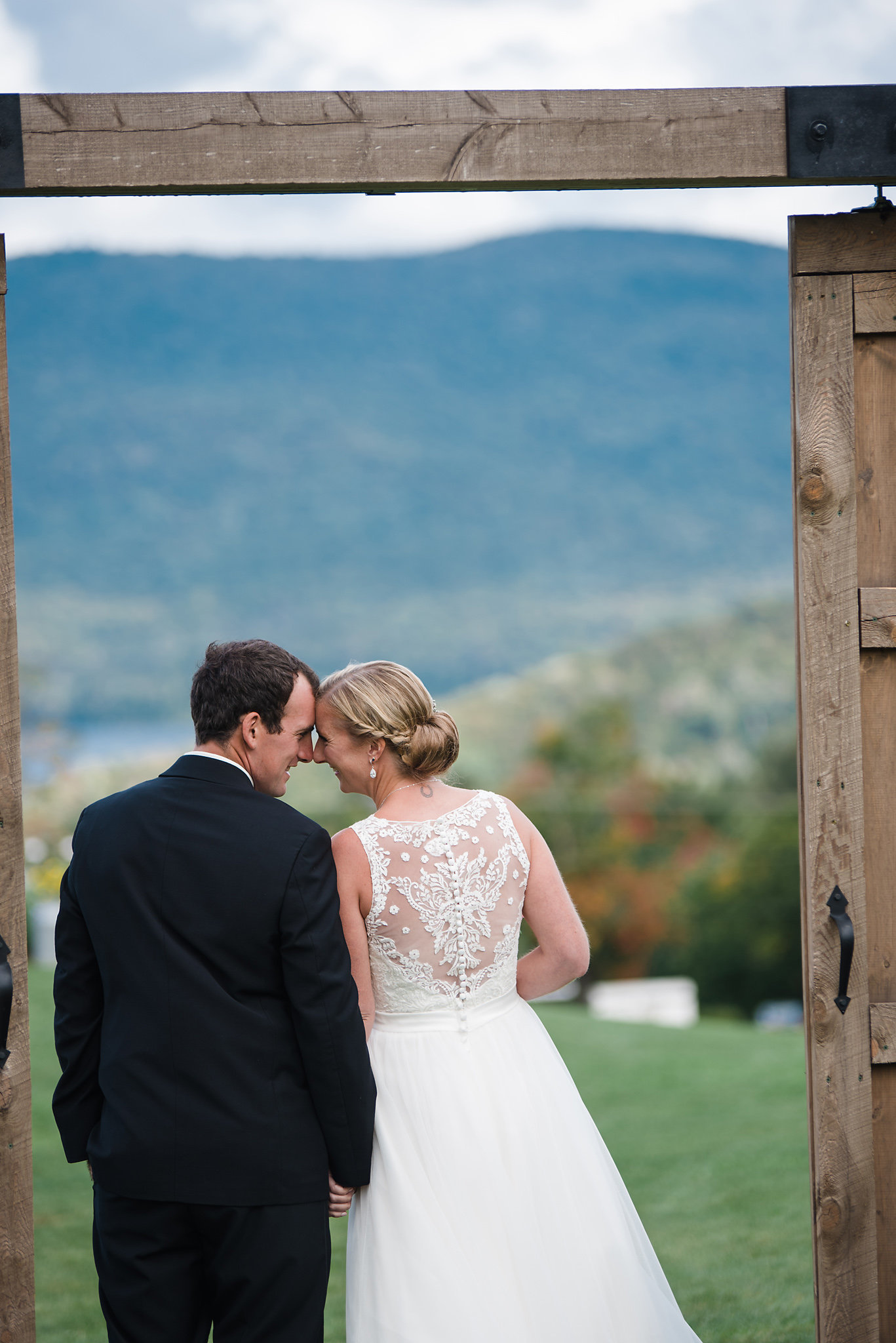 bride and groom at Mountain Top Inn, fall wedding in Vermont, first look