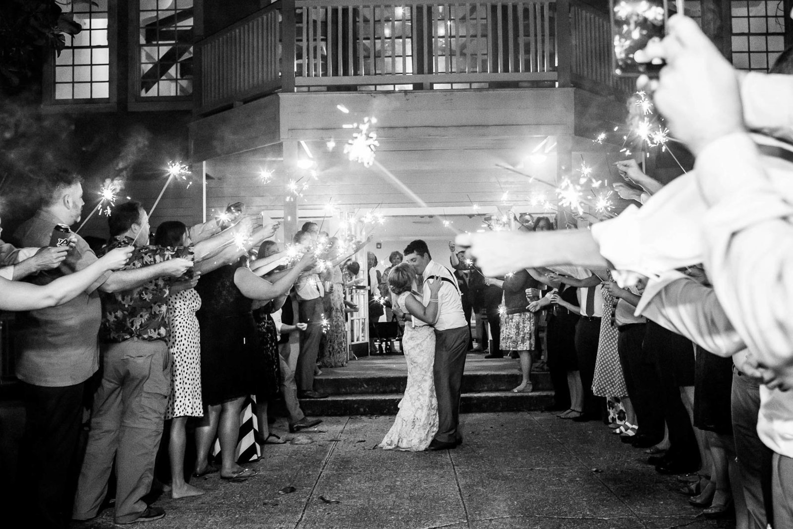 Bride and groom run under sparklers, Alhambra Hall, Mt Pleasant, South Carolina