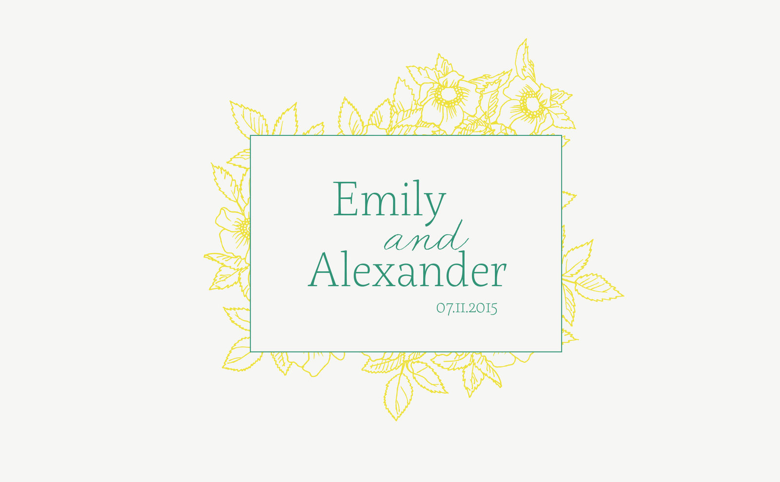 wedding-branding-logo-yellow-green-summer-emily-alex