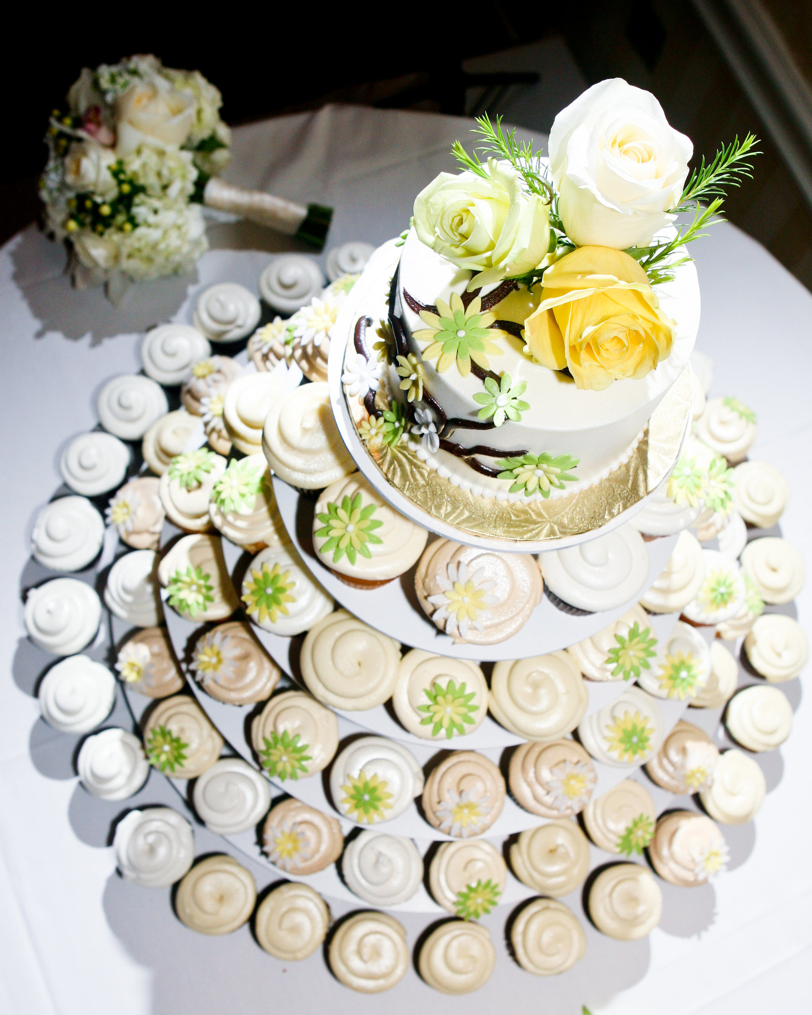Cupcake Wedding Cake Cream and Green and Yellow