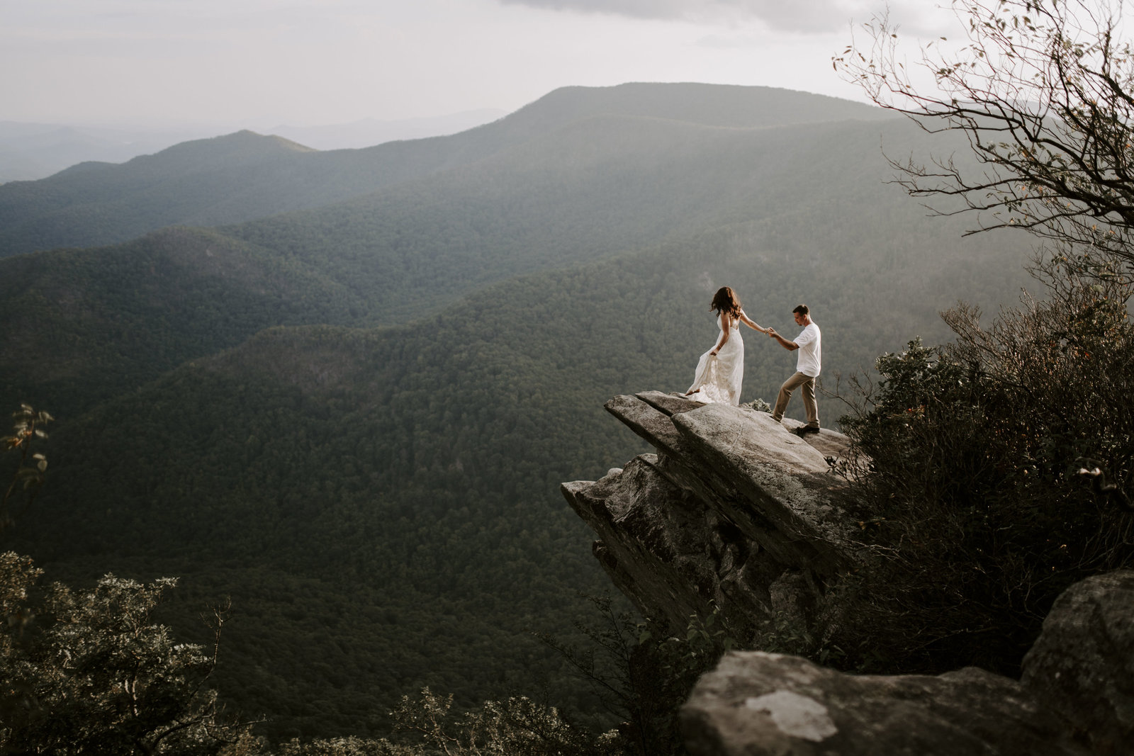 A couple eloping in the mountains of North Carolina near Asheville