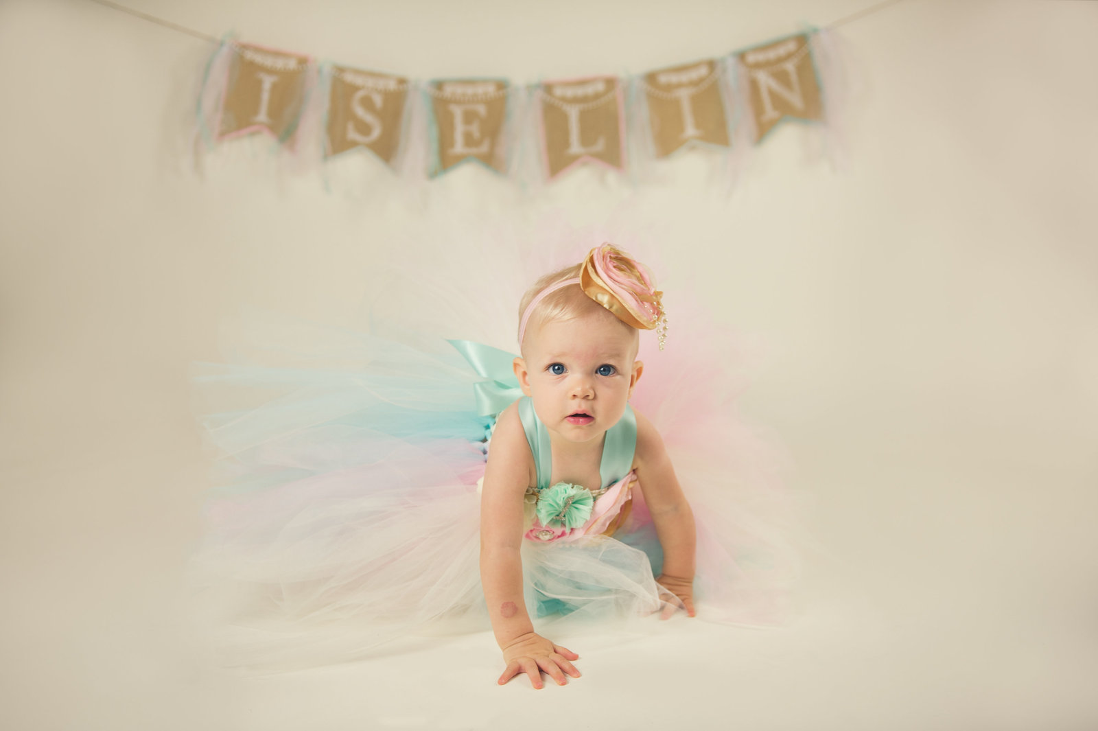 first birthday portrait of baby crawling in tutu