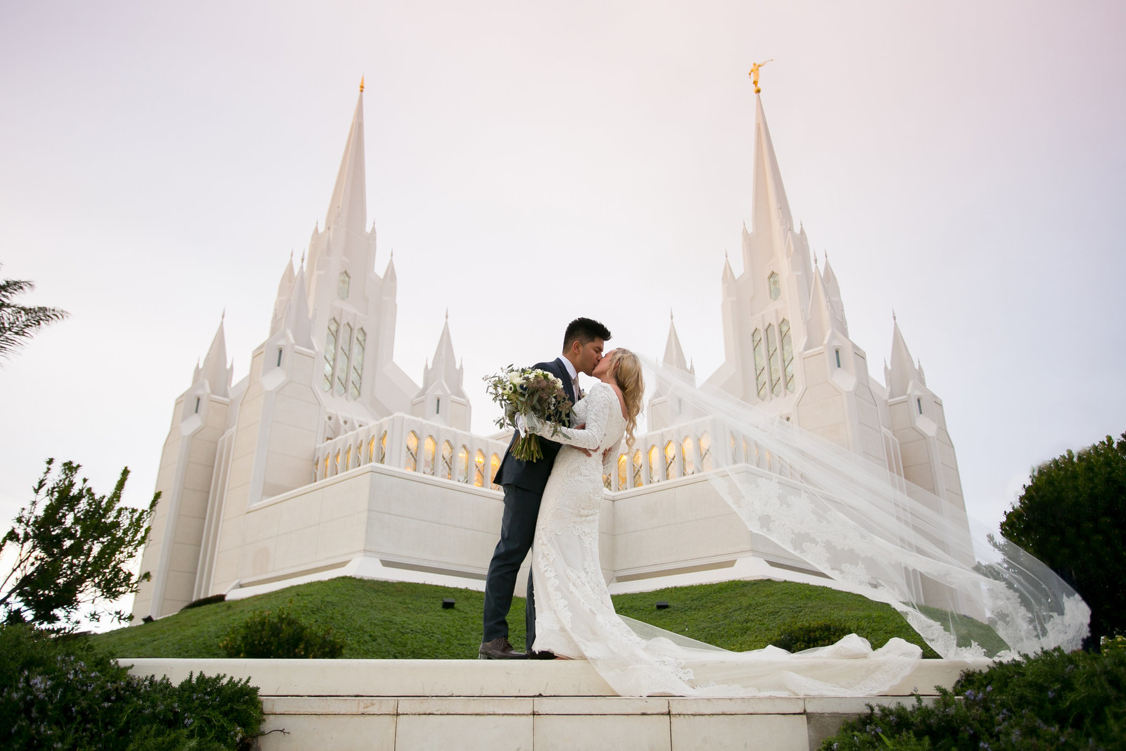 Bride and Groom in front of San Diego Temple