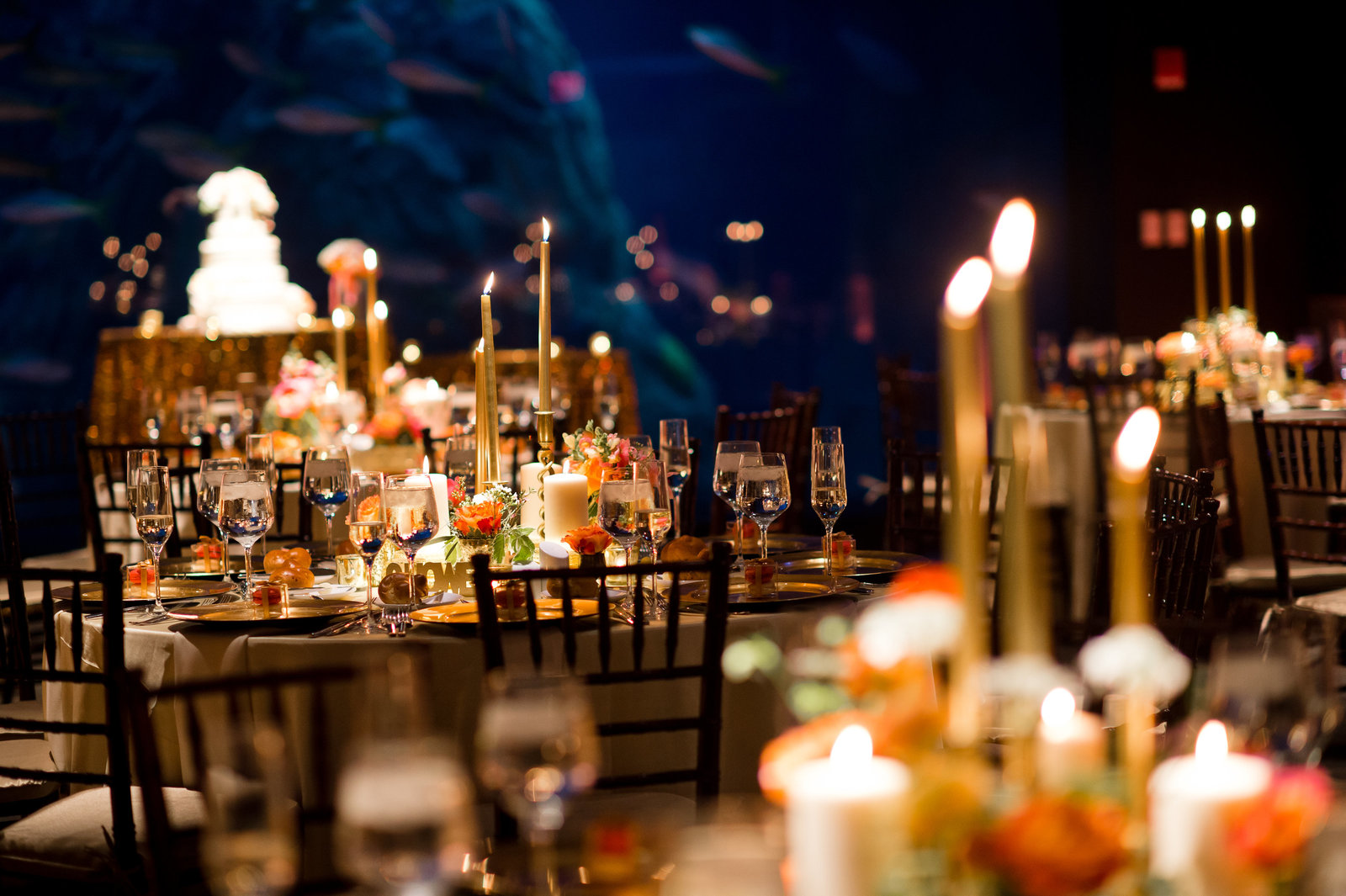 Gold and Coral Wedding reception decor and event design at  Adventure Aquarium