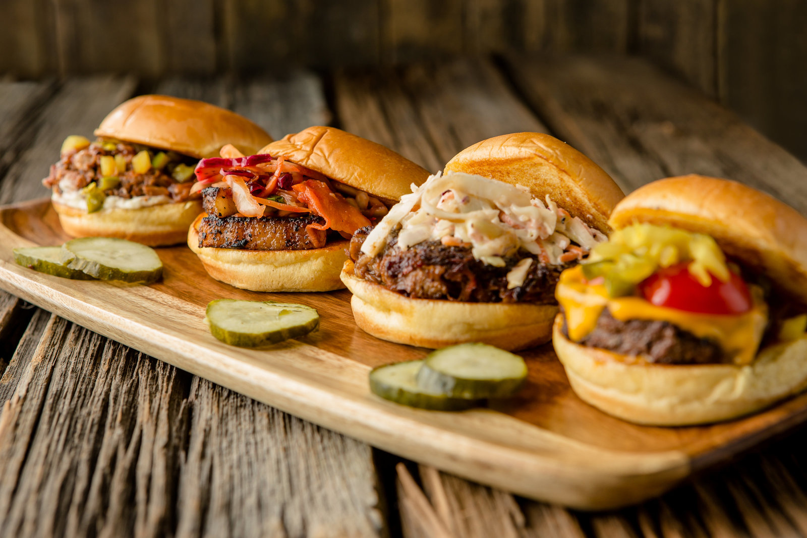 Tray of BBQ sliders Hudson Valley NY food photographer