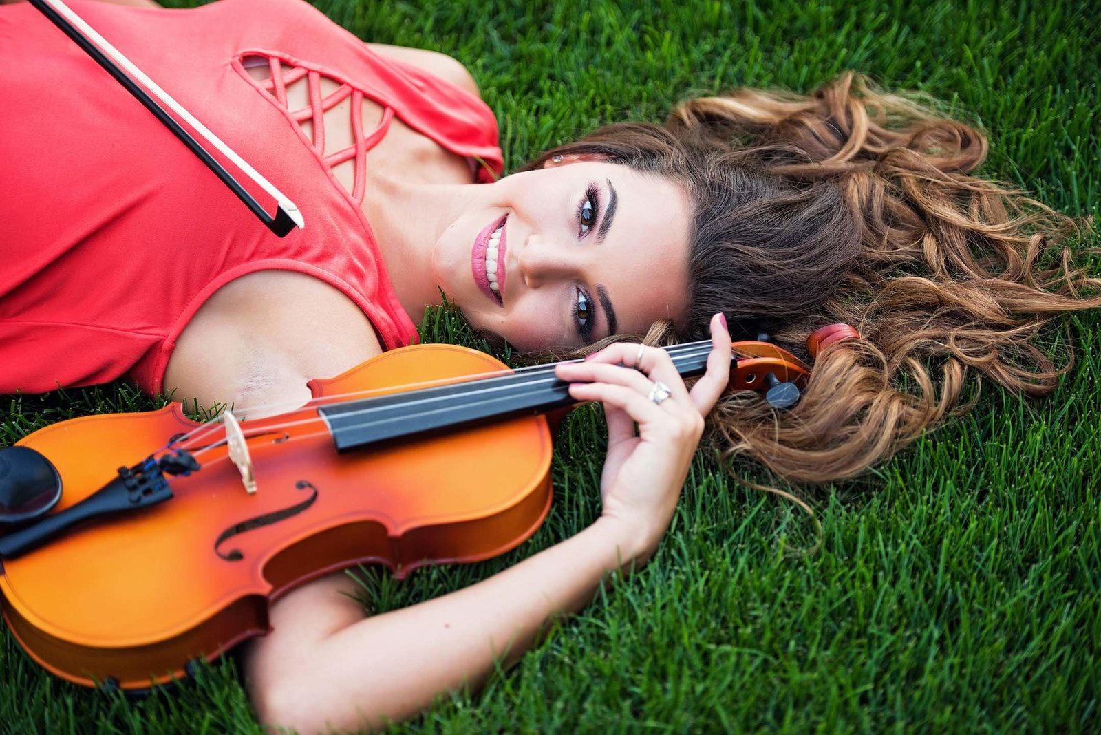 high school senior girl violin portrait