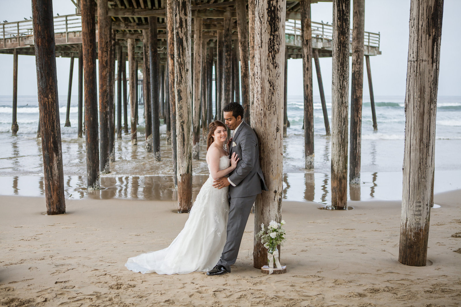 Pismo Beach Bride and Groom Portrait intimate wedding