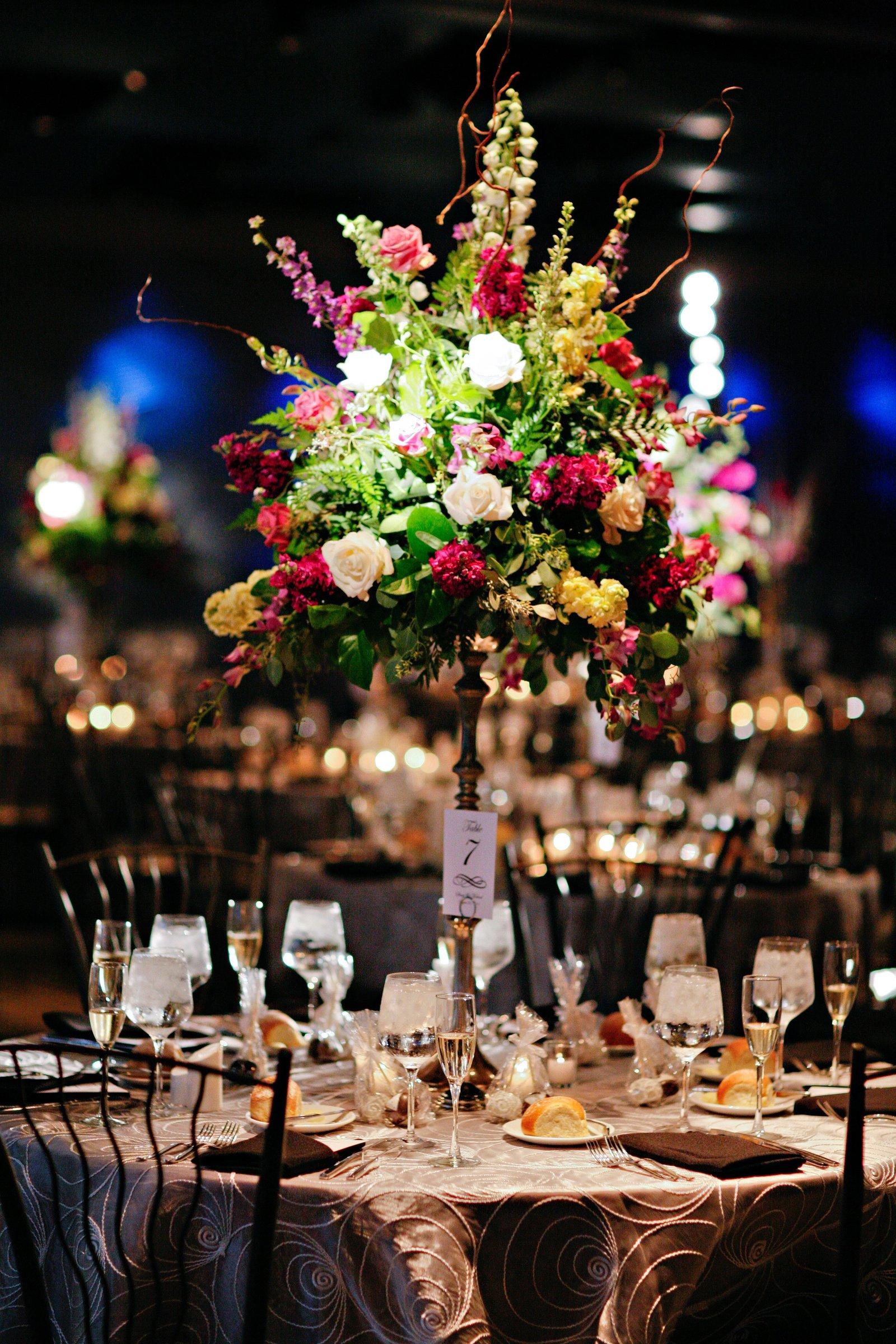Eventricity Floral Design of centerpiece for adventure aquarium wedding reception in new jersey