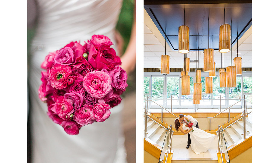 Close up photograph of a bouquet of rich magenta garden roses held by a bride in a satin gown with modern lines next to a photograph of a groom dipping his bride in the landing of a stairwell under a dramatic arrangement of pendant lights photographed in Orange County, California.