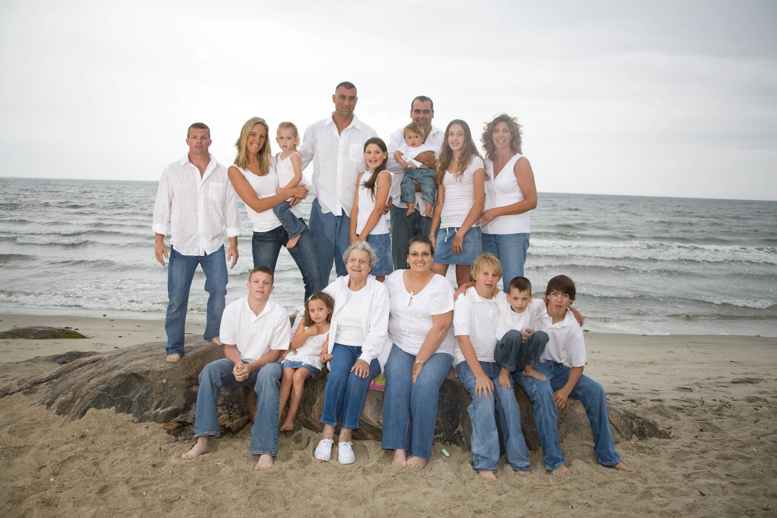 Large Family portrait on beach