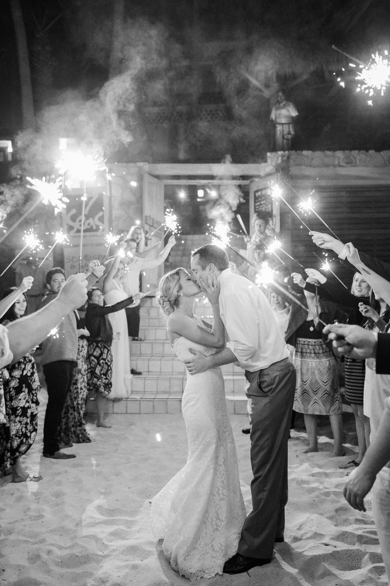Cabo Mexico Destination Wedding, Sparkler exit on beach, Fine Art Film