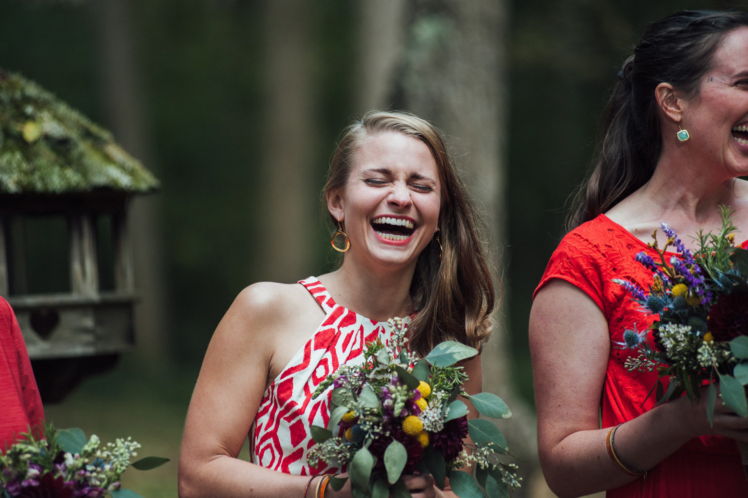 bridesmaid at camp wedding outdoors in maryland