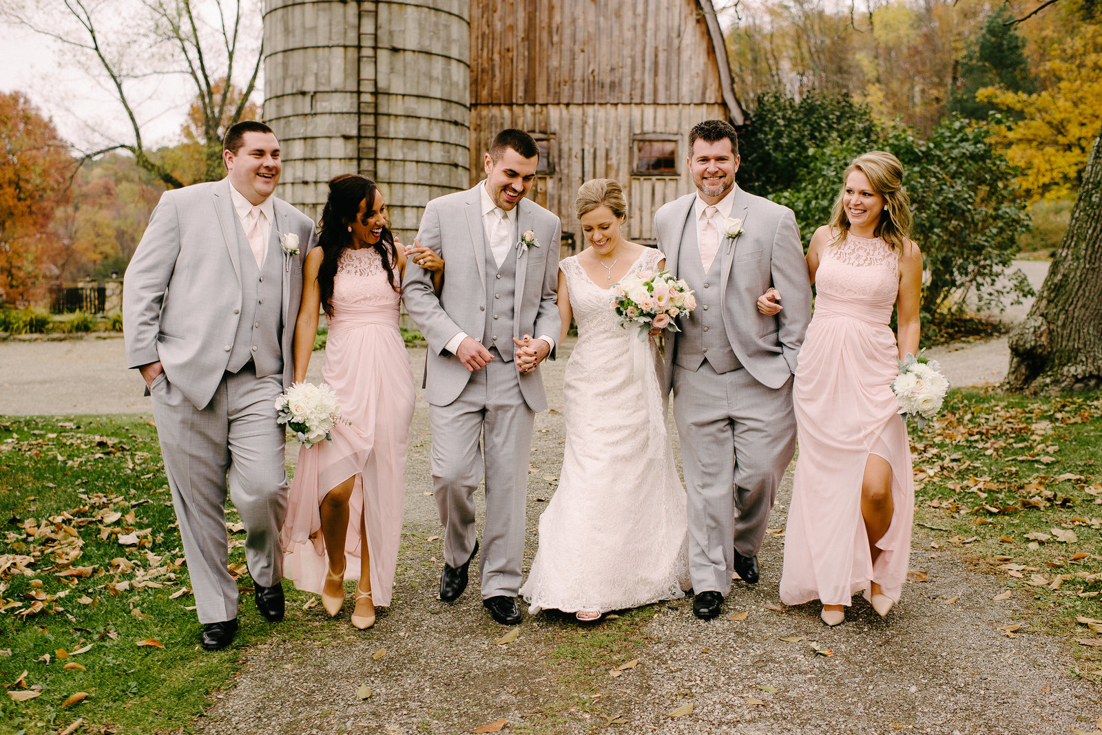 Snodes Restored Barn Minerva OH bridal party