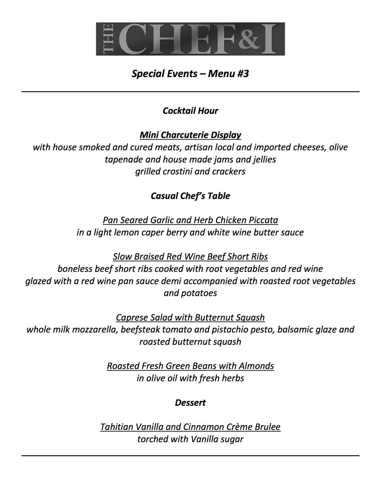 Special Events Menu 3