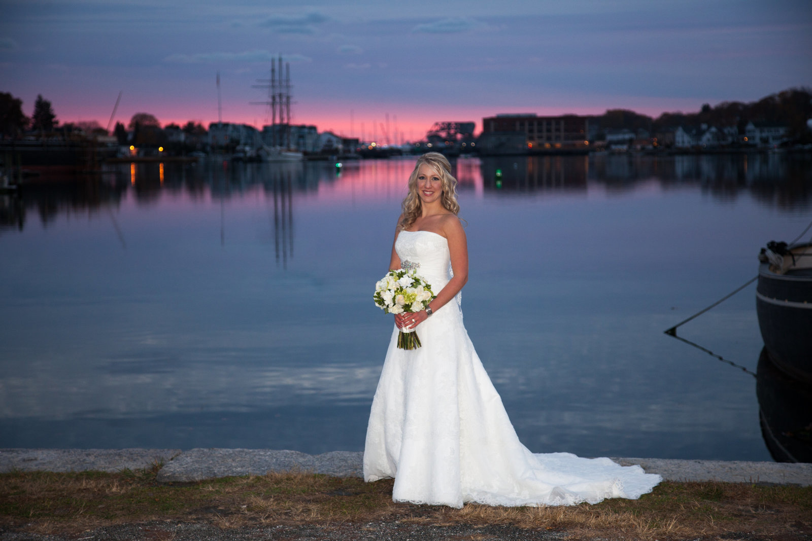 Bride at sunset at Mystic Seaport