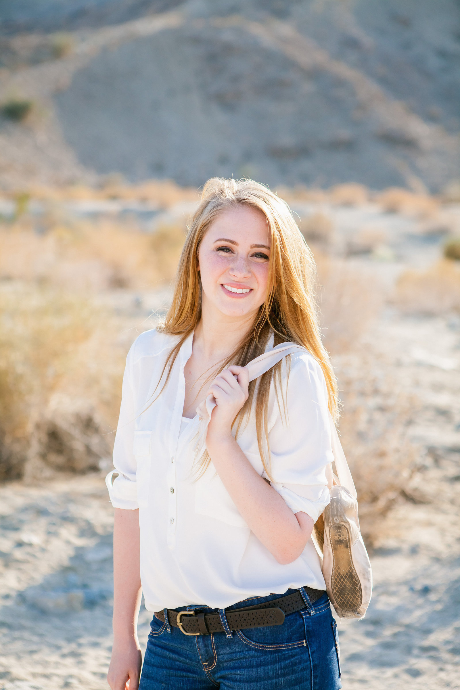 Palm Desert High school Senior session girl in desert scene