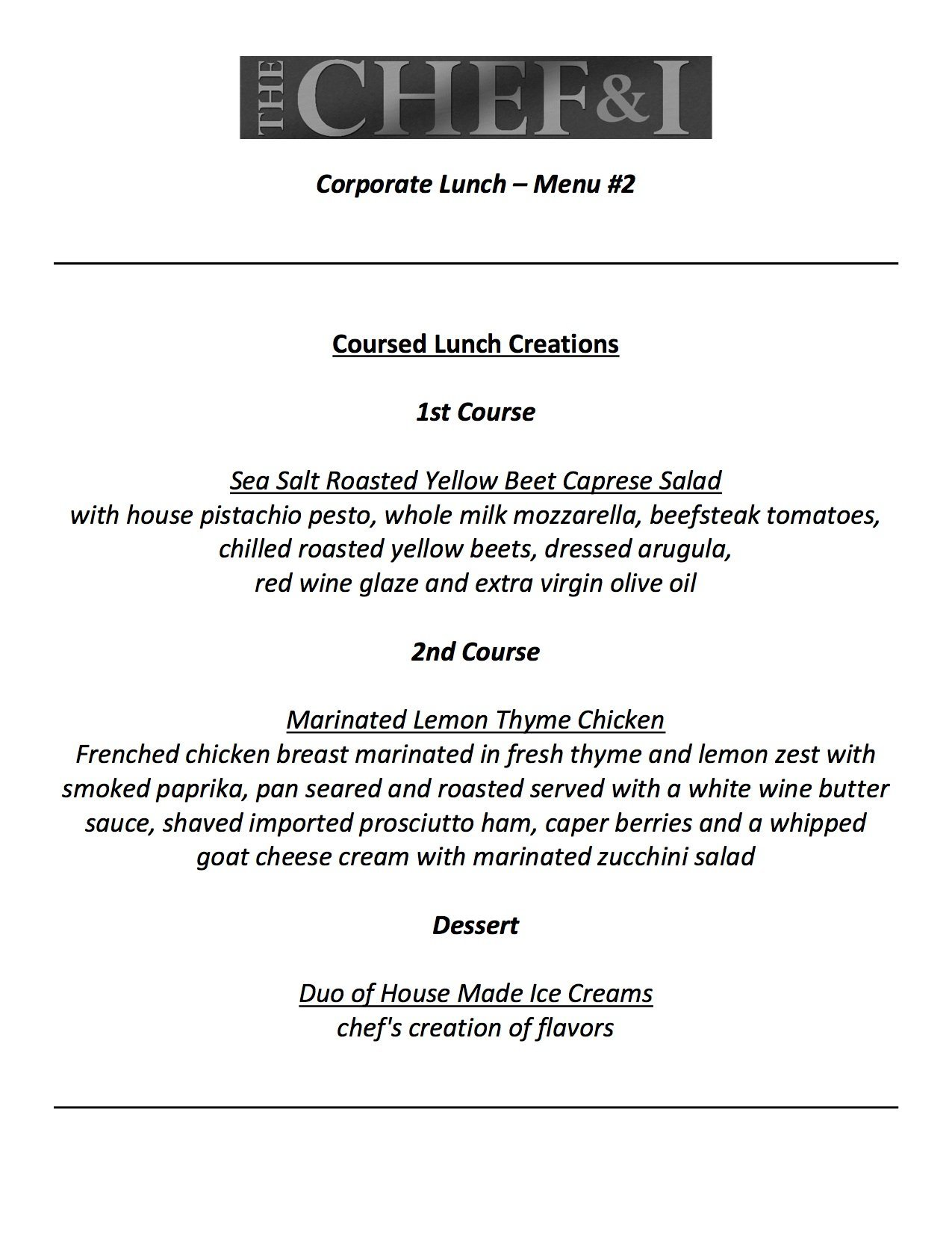 Corporate Lunch Menu 2