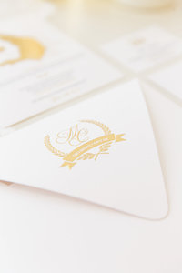 Creative Box created a Garden wedding invite for a wedding in Dubai. Invitations have gold foiling and embossing.