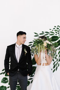 Green industrial wedding styled shoot