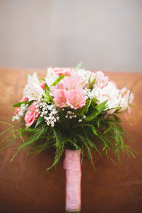 Blush bouquet from destination travel wedding in Edmonton, AB
