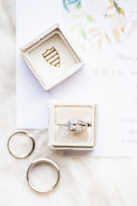 Wedding Detail Photo of  Rings and White Mrs Box  | Tucson Wedding Photographer | West End Photography