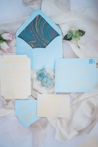 light blue invitation suite from a Strathmore Mansion Wedding