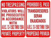 BILINGUAL NO TRESPASSING 18x24[11782]