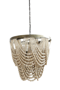 Hanging light fixture with draped wooden beads from Hockman Interiors