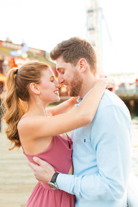 Seattle engagement photographer at the pier