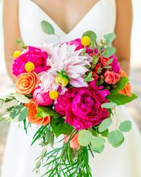 bright and colorful bridal bouquet