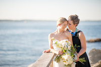 Beautiful waterfront wedding portrait
