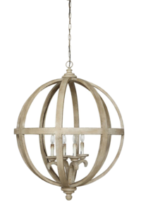 Circular chandelier with open wooden frame from Hockman Interiors