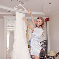 bride with dress prep - square