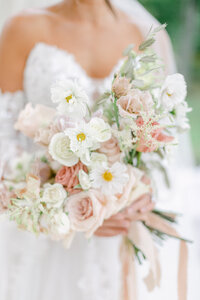 bridal bouquet with nudes blushes and ivory by costola photography