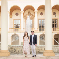 Engagement photo of couple at the Biltmore Miami Coral Gables by Miami Wedding Photographer for White House Wedding Photography